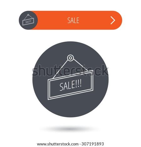 Sale icon. Advertising banner tag sign. Gray flat circle button. Orange button with arrow. Vector - stock vector