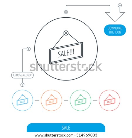 Sale icon. Advertising banner tag sign. Line circle buttons. Download arrow symbol. Vector - stock vector