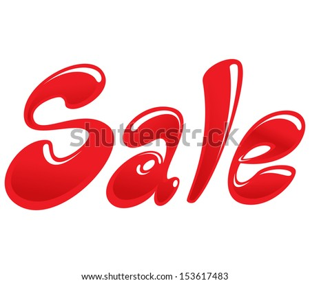 Sale image with red cartoon text like bubbles - stock vector