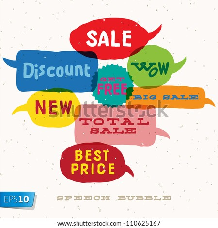 Sale Interactive multicolored bubbles in different sizes and forms, vector Eps10 illustration. - stock vector