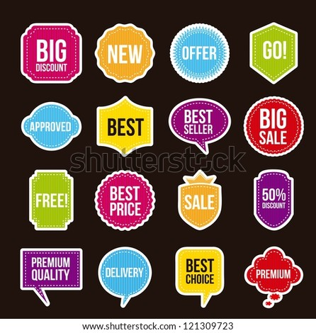 sale labels over black background. vector illustration - stock vector