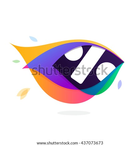 Sale logo in peacock feather icon. Multicolor vector alphabet letters for app icon, corporate identity, card, labels or posters. - stock vector