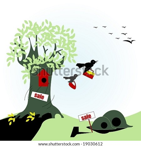 Sale of houses or birds of passage - stock vector