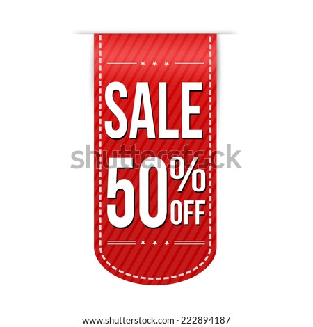 Sale 50% off banner design over a white background, vector illustration - stock vector