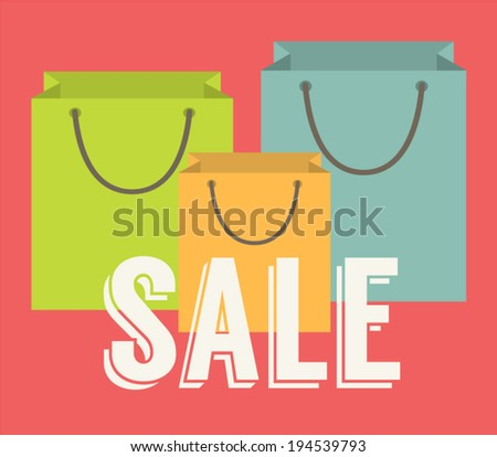 Sale offer. Sign written on a shopping bags. Flat design vector illustration. - stock vector