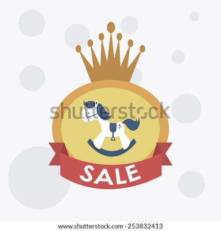 sale or discounst of hobbyhorse over label - stock vector
