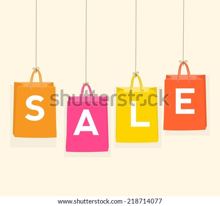 Sale Paper Bag for your design. vector - stock vector