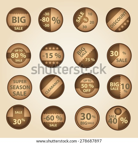 sale paper brown circle icons set for discount shop eps10 - stock vector