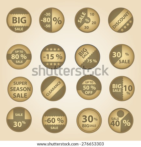 sale paper retro circle icons set for discount shop eps10 - stock vector