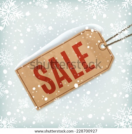 Sale paper tag on background with snowflakes and snow. Winter sale. Christmas sale. New year sale. Vector illustration - stock vector