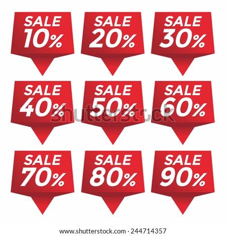 Sale percent sticker price tag - stock vector