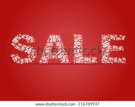 Sale percents composed in word collage - stock vector