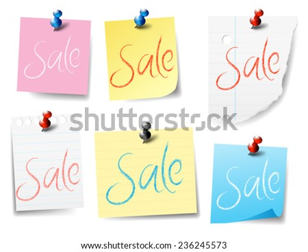 Sale Pinned Paper Notes - stock vector