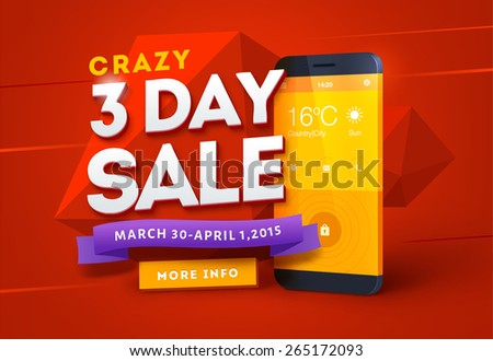 Sale poster design with smart phone  - stock vector