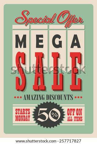 Sale Poster Vector Retro Design - stock vector