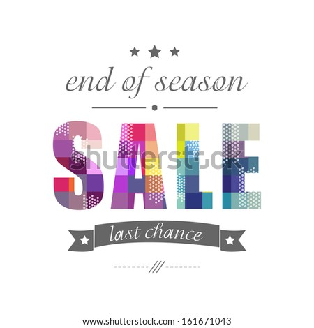Sale Poster With Banner Ribbon, Vector Illustration - stock vector