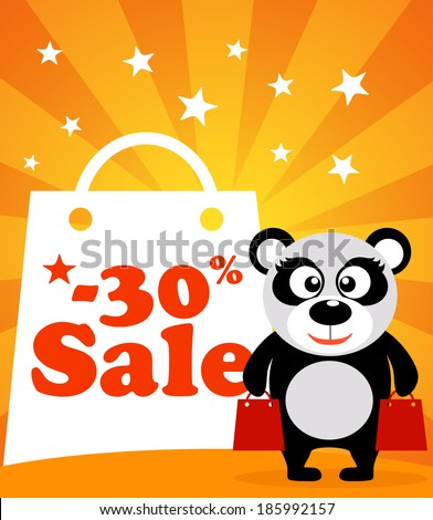 Sale poster with panda vector - stock vector