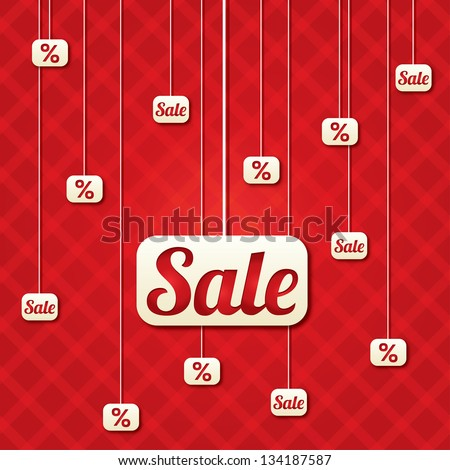 Sale poster with percent discount (vector). Abstract sale background. Shopping modern icons. - stock vector