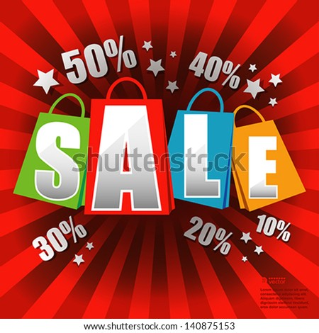 Sale poster with percent discount.  Vector eps 10 illustration. - stock vector