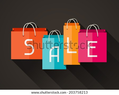 Sale poster with shopping bags in flat design style. - stock vector