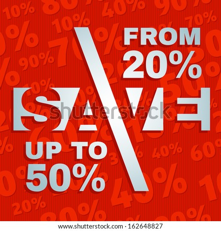 Sale price offer lettering text label on seamless discount percents background pattern - stock vector