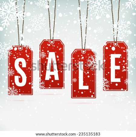 Sale price tags on winter background with snow and snowflakes. Vector illustration - stock vector