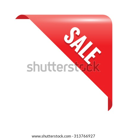 Sale Red Page Corner. Business Ribbon - stock vector