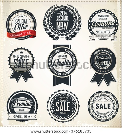 Sale retro vintage badges and labels - stock vector