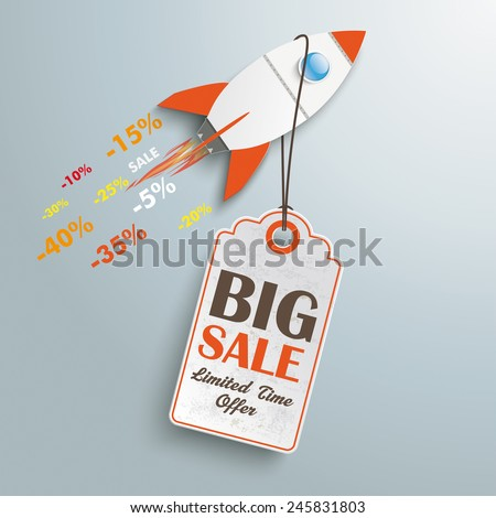 Sale rocket with price sticker on the silver background. Eps 10 vector file. - stock vector