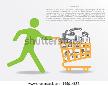sale. running man with shopping cart. vector eps10 - stock vector
