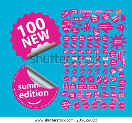 sale, shop, paper stickers, labels, icons, signs, symbols set, vector - stock vector