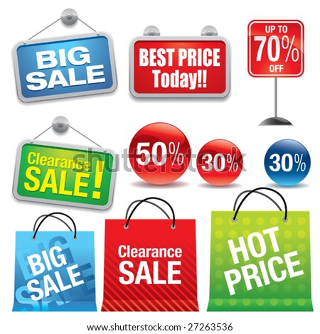 Sale shopping bags and signs - stock vector
