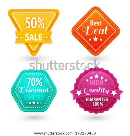 Sale signs and symbols set for best price high quality and exclusive deal isolated vector illustration - stock vector