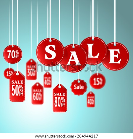 Sale signs and tag hanging in store for promotion shopping concept.vector illustration - stock vector