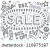 Sale Sketchy Notebook Doodles Discount 50 Percent Off Shopping Hand-Drawn Illustration Design Elements on Lined Sketchbook Paper Background - stock vector