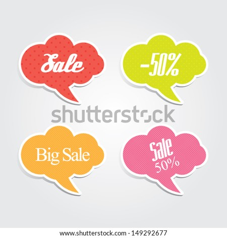 Sale Speech Bubbles - stock vector