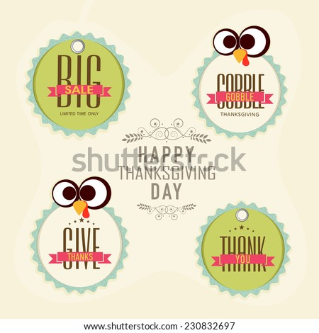 Sale sticker, tag or label set on occasion of Thanksgiving Day celebrations. - stock vector