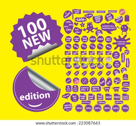 sale, stickers, shopping, labels, discount isolated icons, signs, illustrations, silhouettes set, vector on background for web and mobile  - stock vector