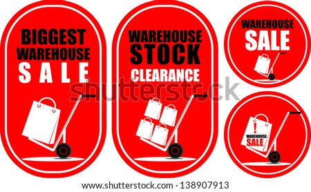 sale stickers with hand truck - stock vector