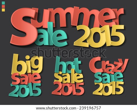 Sale tag 2015 folding paper design, Vector illustration - stock vector
