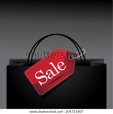 Sale tag on a shopping bag background. With space for your text. EPS 10 vector, grouped for easy editing. No open shapes or paths. - stock vector