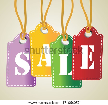 Sale tag on hanging labels - stock vector