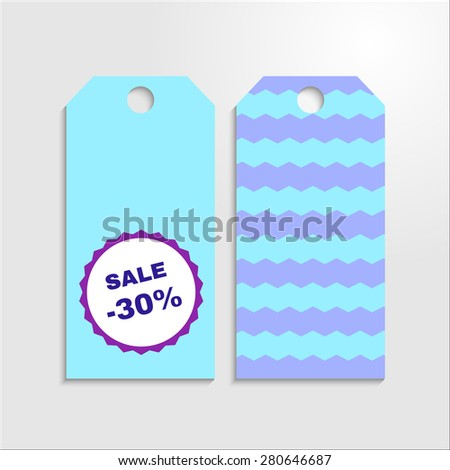 Sale tag set with zig zag and violet badge with discount. Vector EPS 10. - stock vector