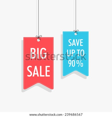 Sale tag, sticker and label with hanging style on shiny silver background. - stock vector