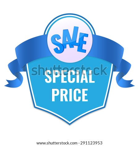 Sale tag with special price text and blue ribbon. Concept of discount. Vector illustration. - stock vector