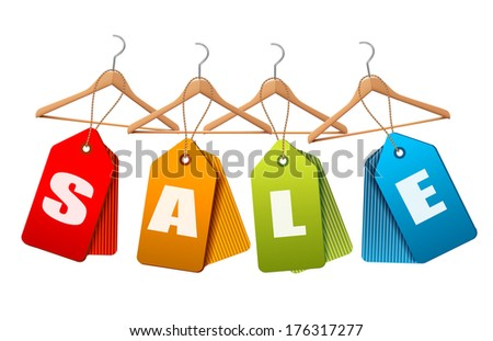 Sale tags. Concept of discount shopping. Vector illustration - stock vector