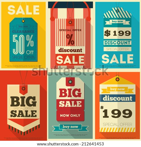 Sale Tags in Flat Design. Vector Illustration. - stock vector