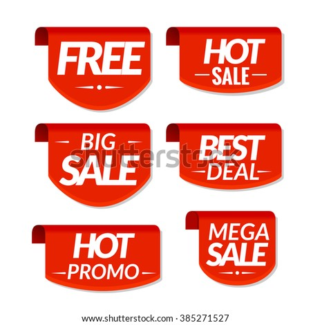 Sale tags labels. Special offer, hot sale, best deal, big sale, mega sale, hot promo discount banners. - stock vector