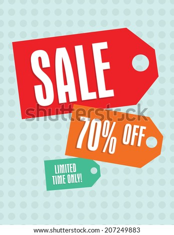 Sale tags sign with 70 percent off tag - stock vector