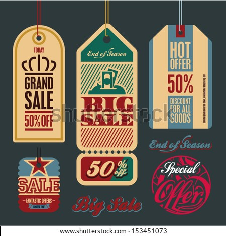 Sale tags. Vintage style tags and labels collection. Big sale. - stock vector